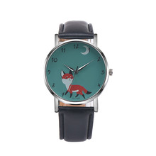 Women's Cartoon Fox Pattern Watch Retro Design Leather Band Simple Analog Wrist Watches Ladies Casual Clock Quartz Watch #LH(China)