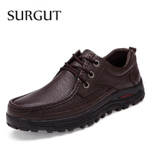 SURGUT Brand Big Sizes Genuine Leather Fashion Men Shoes Handmade Summer Autumn Winter Brand High Quality Men Flats Shoes 38-48