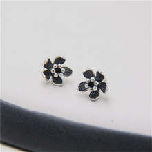 JINSE Real 925 Sterling Silver Earrings Vintage Thai Daisy Flower Pure Handmade Bangkok Silver Jewellery Boutique 8.50mm TYC179