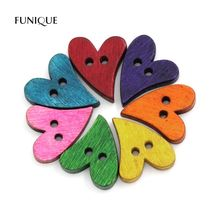 FUNIQUE 100Pcs/Lot 2-Hole Wooden Heart Buttons Decorative Buttons For Children DIY Scrapbooking Craft Sewing Accessories Mixed