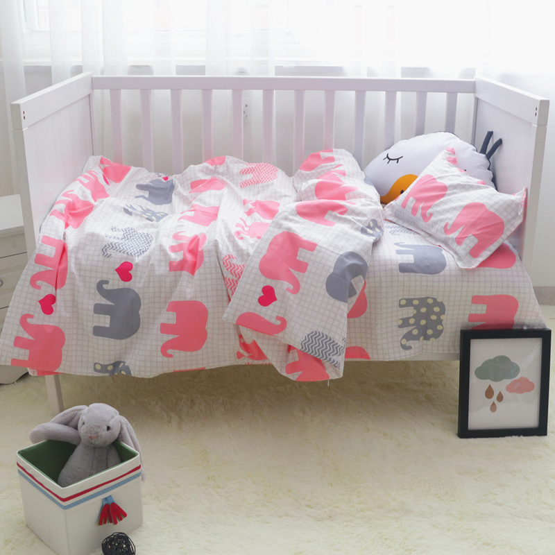 Elephant Swan snail baby bedding set 3pcs/set cotton baby bedding Kindergarten sheets quilt cover pillowcases for boys girls<br><br>Aliexpress