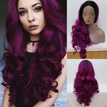 Black To Purple Ombre Synthetic Lace Front Wig Synthetic Body Wave Wig Long Wavy High Quality Heat Resistant Lace Front Wig