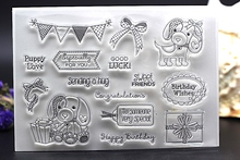 CLEAR STAMPS puppy birthday friend DIY Scrapbook Card album paper craft  silicon rubber roller transparent stamp bird 16x11cm