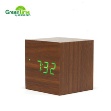 Hot!Wooden Led Alarm Clock Small Digital Table Cube Temperature Sounds Control Projection home Electronic Desktop clock CYP1-008(China)