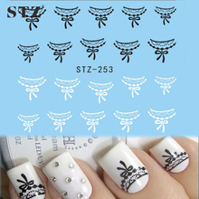 STZ 1 Sheets New Elegant Necklace Black/White Lace Pattern DIY Creative Wraps Sticker for 3d  Nail Art Decals STZ253