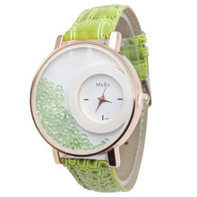 The latest listing women watch famous brands simplicity Diamond Quicksand Pattern Leather Band Analog Quartz Vogue Wrist Watches