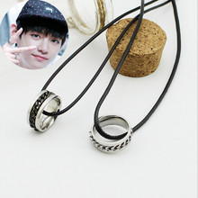 Free Shipping Korea POP BTS Bangtan Boys V Necklace Women Titanium Steel Chain Rotating Pendant Men Jewelry Collier 1385