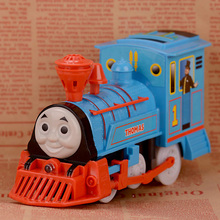 Wholesale Classic Electric Cartoon Train With Light and Music Cheap Plasic Toys Vehicle Birthday Gift(China)