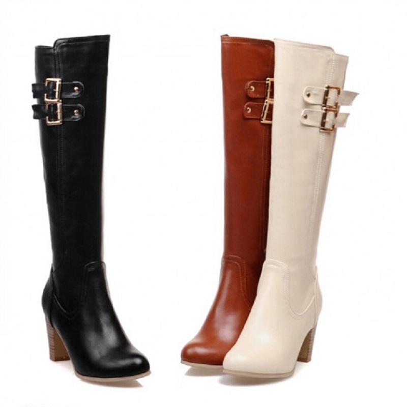 Plus size 31-48 New 2015 Winter Knee High Boots Luxury Warm Women Motorcycle Boots Low Heel Long PU Leather Plush Fur Shoes<br><br>Aliexpress