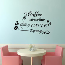 Coffee Chocolate Milk Italian Wall Sticker DIY Home Decor Vinyl Cup Beans Kitchen Wall Decals Waterproof(China)