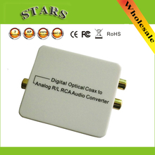 New 1080p HD Digital Optical Toslink Coax to Analog R/L RCA Audio video Converter Adapter,wholesale free Shipping Dropshipping