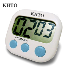 KHTO Magnetic LCD Digital Kitchen Countdown Timer Alarm with Stand White Kitchen Timer Practical Cooking Timer Alarm Clock(China)