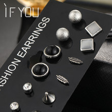 IF YOU 6Pairs/set Fashion Brincos Silver Color Crystal Simulated Pearl Stud Earrings Set For Woman Vintage Jewelry FREE SHIPPING