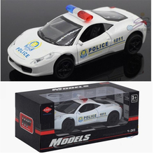Musical/Flashing/Pull Back/Alloy Police Cars 1:32 Motor Racing/Sport Car Model toys children's Best Educational Gift Free Ship