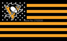 Pittsburgh Penguins Hockey Sports Team Star & Stripe US National Flag 3ft X 5ft Custom Banner With Sleeve Two Gromets 90*150CM(China)