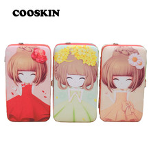 2017 Hot Sale Women Coin Wallet Manufacturers Wholesale Cute Girls Print Wallets Korean Version Cartoon Wallet Buckle Lady Purse