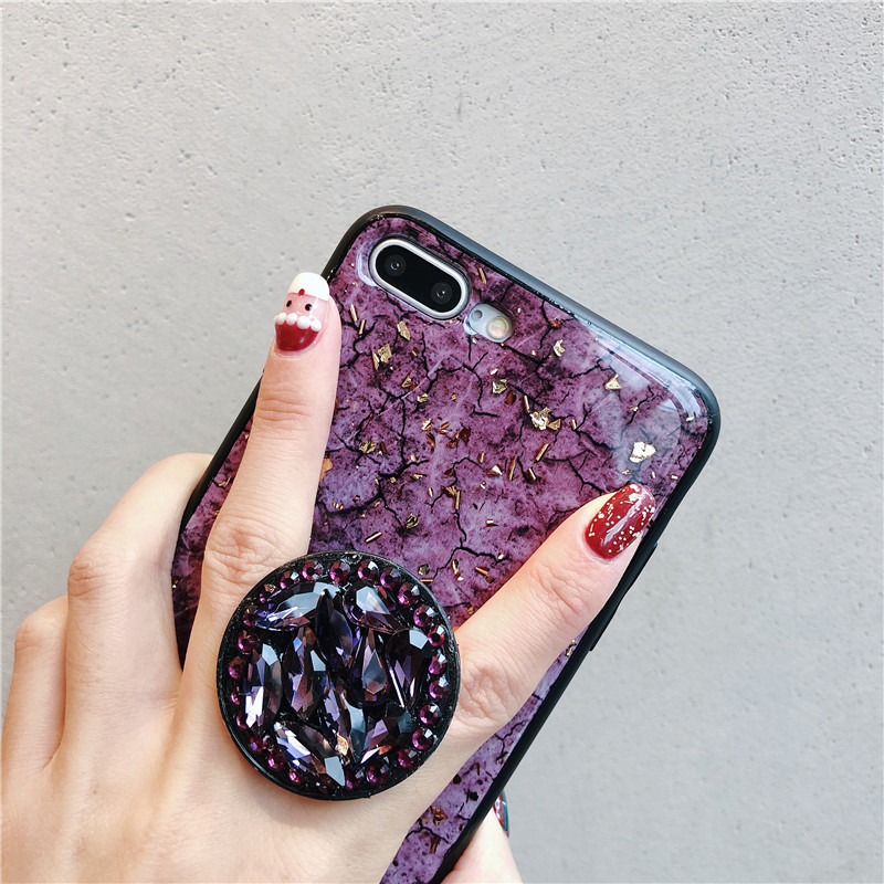 Luxury Diamond Marble Glitter silicon phone case for iphone 7 8 6 6s plus X XR XS MAX holder ring Cover For Samsung S8 S9 Note 9 (16)