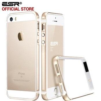 Case para iphone 5s/se, esr quadro ultra fina de alumínio de liga de metal quadro bumper soft case para o iphone se/5/5s