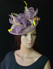 NEW feather yellow Sinamay fascinator hat with feathers for Melbourne cup,Ascot races wedding kentucky derby.FREE SHIPPING