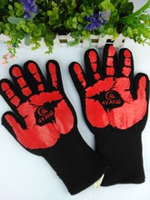 932F LC supply Heat Resistant Cooking Gloves-Oven Grill Mitts -Heat Proof  Silicone   Burn Proof red color