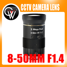 3.0MP 8-50mm C Mount Lens F1.4 Manual IRIS zoom Focus lens for cctv camera industry Microscope Camera(China)