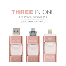 3 in 1 High speed Integrated chip 64GB 32GB 16GB 8GB 3.0 usb OTG for iPhone smart phone usb flash drive 3.0 pen drive flash disk