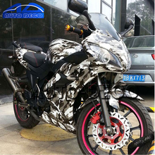 Grey Black White Camouflage Vinyl Car Wrap Sticker Glossy Finished Snow Camo Film for Scooter Motorcycle Decal Printed Vinyl