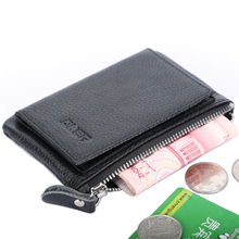 New Hasp Button Zipper Genuine Leather Coins Purse Black Color ID Credit Card Holder Multi Function Coin Wallet For Men & Women(China)