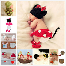 Animals hot infant mermaid costume, newborn hat, La Mariposa kids clothing sets, Snail baby crochet photography clothes(China)
