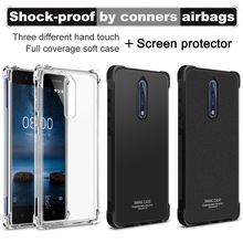 IMAK Corners Airbag Shock-Proof Case for Nokia 8 Soft TPU Case Cover for Nokia 8 Dual Sim Full Cover Matte Case Screen Film(China)