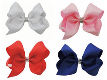 10 pcs 18CM solid colour ribbon ABC hair bows clips with a row CZ diamond Party Pageant headwear Accessories HD3492(China)