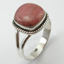 PURE SILVER Natural Rhodochrosites Ethnic RING SIZE 9.5 Jewelry Store(China)