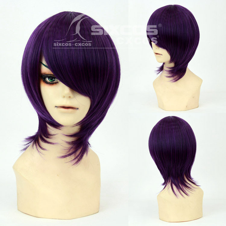 Tokyo Ghoul - Toka Kirishima Fashion Mens Short Hair Universal Natural Anime Game Cosplay wigs synthetic  color Dark purple<br><br>Aliexpress