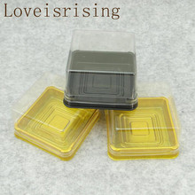 100pcs=50sets 6.8*6.8*4cm Mini Size Clear Plastic Cake boxes Muffin Container Food Gift Packaging Wedding Supplies
