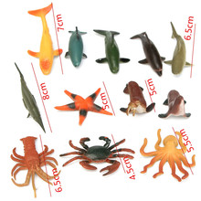 12PCS/Set 4.5-8cm Plastic Marine Animal Figures Ocean Creatures Sea Life Shark Whale Crab Kids Toy
