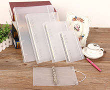 PP Notebook Cover 6-Hole Ring Binder Spiral A5 A6 A7 B5 A4 Refillable File Folder with Elastic String