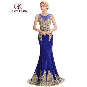 Grace karin largo prom 2017 vestidos de satén negro blanco rojo royal blue mermaid prom dress elegante ballkleider vestidos formales gk0026