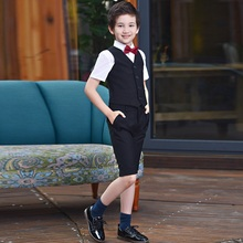 Summer Boys Prom Suits Weddings Outfit Blazer Kids for Child Tuxedo Short Sleeve Shirt+Vest+shorts 3 PCS Costume Give Bow Tie
