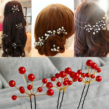 Red White Pearl Flower Hairpins White Red Hair Jewelry Accessory Wedding Bridal Bridesmaid Headpiece Hair Pins Clips Tiara(China)