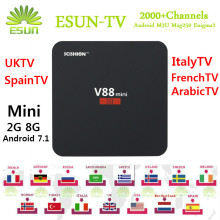 V88/V88 Mini X96 Mini Android TV Box IPTV BOX With 1 Year ESUNTV configured Arabic IPTV Europe iptv French Italy IPTV Set topbox(China)