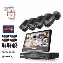 "SANNCE 4CH 720P All-in-1 CCTV Camera System 10.1"" LCD Monitor DVR with 720P 1MP Security Camera CCTV video Surveillance Kit(China)"