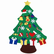 2017 NEW Kids DIY Felt Christmas Tree Set with Ornaments Children Gift Toddler Door Wall Hanging Preschool Craft Xmas Decoration