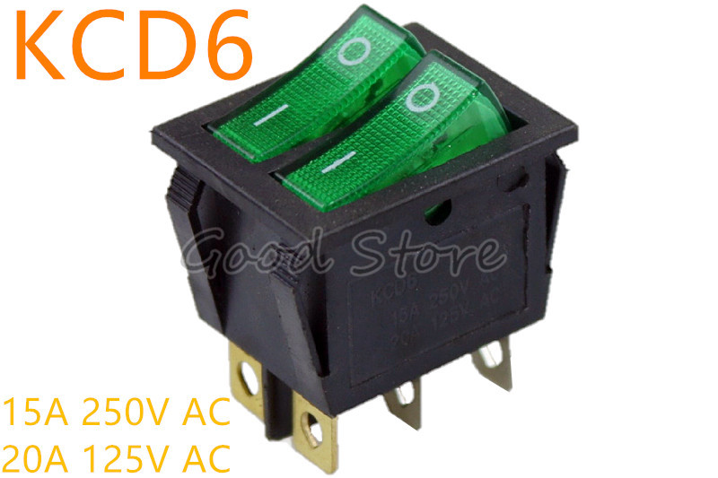 2pcs Rocker Switch SPST 3Pin 15A 250VAC 20A//125VAC ON-OFF with Lamp Snap In