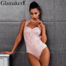 Buy Glamaker Halter lace jumpsuit romper women Sexy v neck bodycon bodysuit overalls Sleeveless pink autumn winter bodysuit 2018