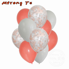 Mtrong Te 10pcs 12inch white and pink confetti latex balloon birthday party wedding decoration chromatic confetti latex balloons(China)