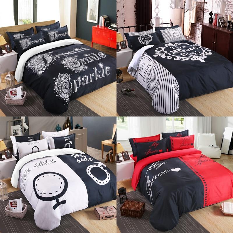 amerian 3d black white ihre seite seiner seite bettw sche sets. Black Bedroom Furniture Sets. Home Design Ideas