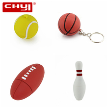 CHYI Cartoon Sports Ball USB Flash Drive U Disk Football Basketball Tennis Blowing Rugby Pendrive Memory Stick Pen Driver