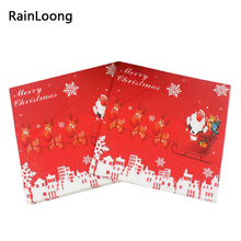 [RainLoong] Santa Napkins Christmas Festive & Party Supplies Tissue Paper Napkins Decoration Servilleta 33cm*33cm 20pcs/pack(China)