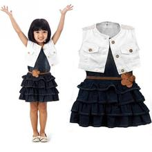 New baby girl`s two-piece dress Children's clothing child white vest denim skirt summer sleeveless suit