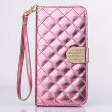 For iPhone 6 Plus 6s Plus Case 5.5'' Diamond Flip Patent Leather Lady Wallet Rope Hand Bag Plaid Book Smart Cover Stand Fold HOT